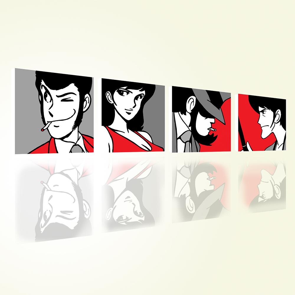 Lupin III Quadro Set 4 Quadri Stampa su Tela Canvas Rosso