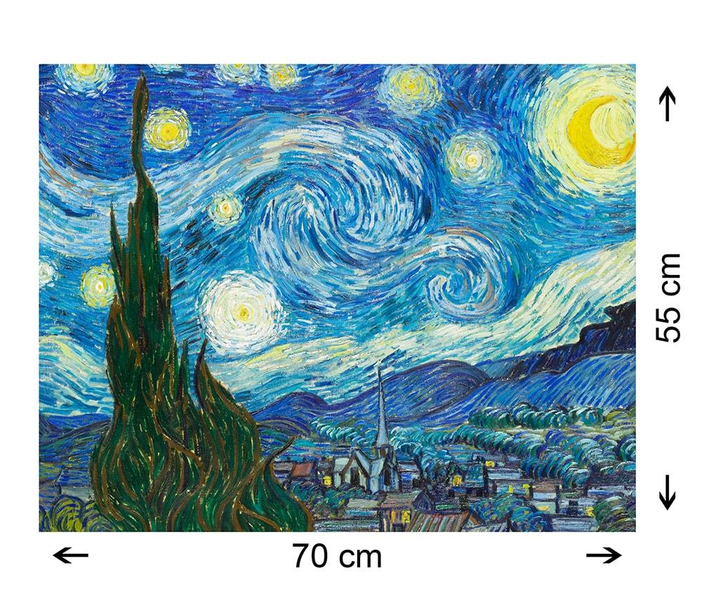 Notte Stellata Vincent Van Gogh Quadro Moderno - Riproduzione su tela Canvas 70x55cm