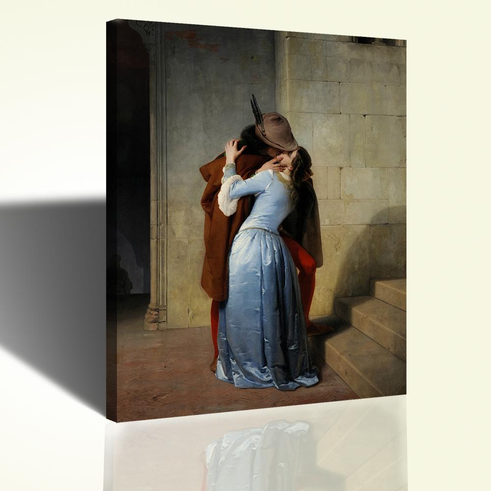 Il Bacio Hayez Stampa su Tela Canvas 72x90cm Quadro Moderno