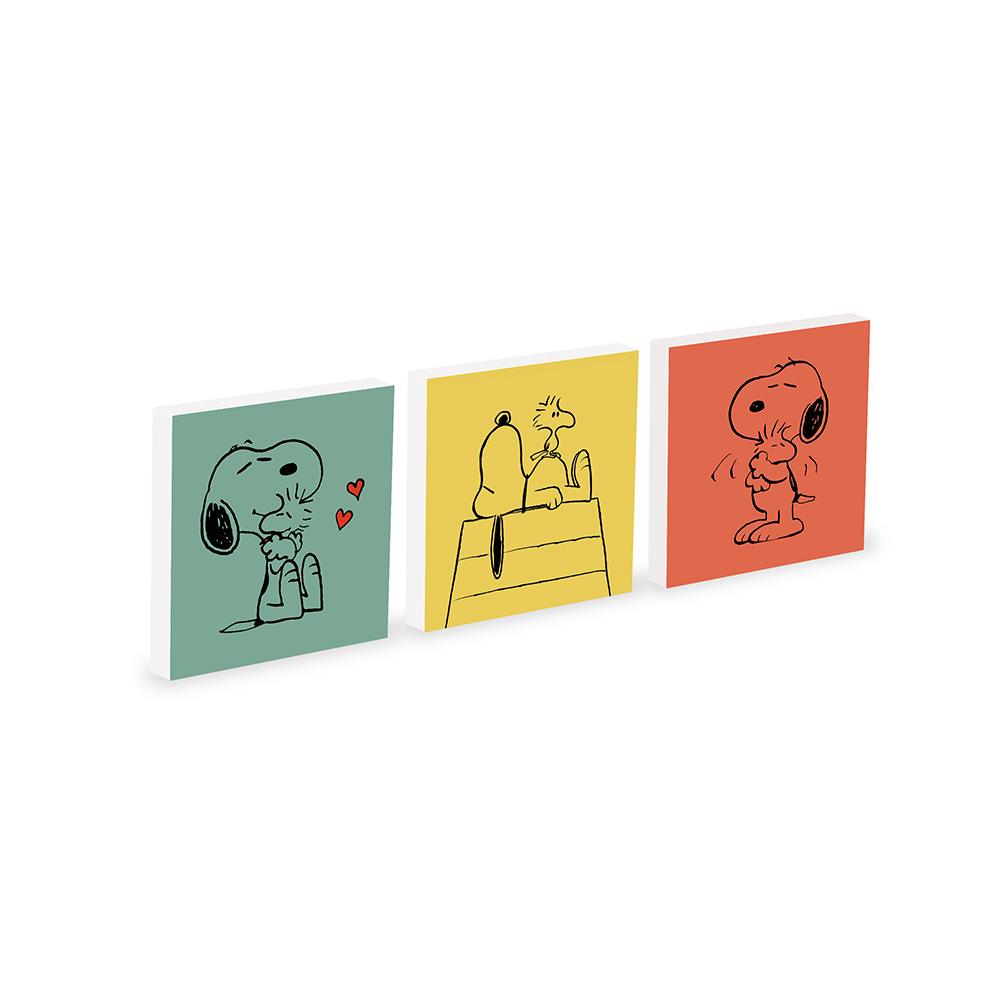 Set 3 Quadri Moderni Snoopy 20x20cm - Snoopy e Woodstock