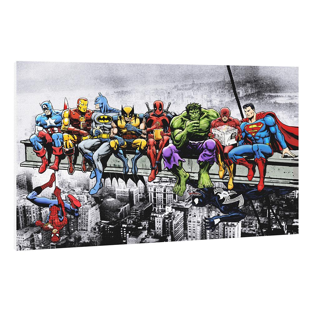 Quadro Moderno Supereroi Pranzo su Trave 62x42 cm - Stampa su tela Canvas HD