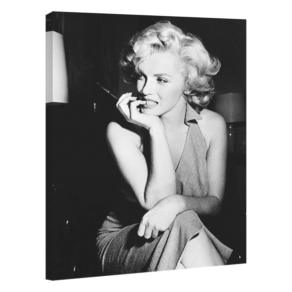Quadro Moderno Marilyn Monroe 40x53 cm - Bianco e Nero - Stampa su Tela Canvas